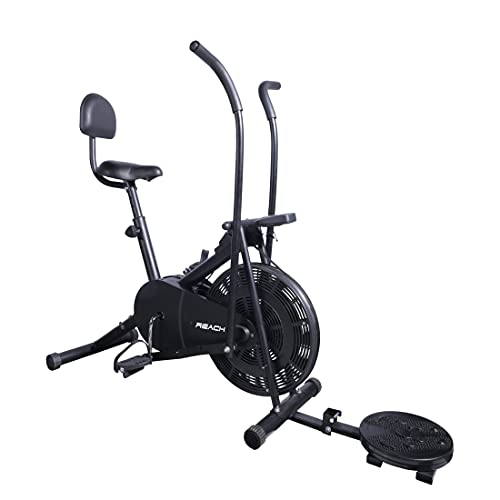 Reach AB-110 Air Bike Exercise Fitness Cycle with Moving or Stationary Handle Adjustments for Home - 3 Options (Moving/Stationary...