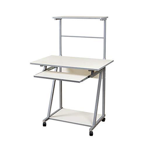 Mesa de centro para muebles, estación de trabajo para computadora compacta con escritorio, estantes y bandeja para teclado retráctil para muebles de oficina en casa (Color: NEGRO) (Color: Blanco)