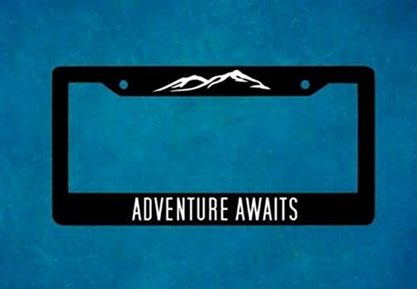 Adventure Awaits License Plate Frame For Car Truck RV Custom Vehicle Tag Holder