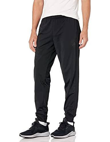 adidas Men's Standard Essentials Warm-Up Slim Tapered 3-Stripes Tracksuit Bottoms, Black/Black, Large