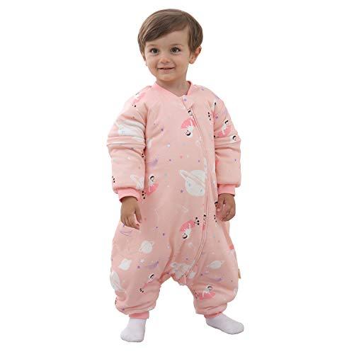 Baby Schlafsack mit Beinen Warm gefüttert winter kinder schlafsack abnehmbaren Ärmeln,Junge Mädchen Unisex Schlafanzug (Pink,2-4 Jahre(baby height 95-105cm))