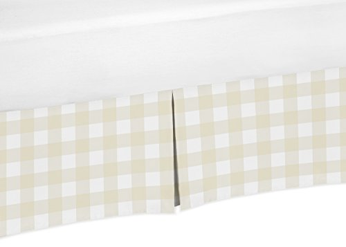 Sweet Jojo Designs Beige and White Buffalo Plaid Check Pleated Queen Bed Skirt Dust Ruffle for Woodland Camo Collection
