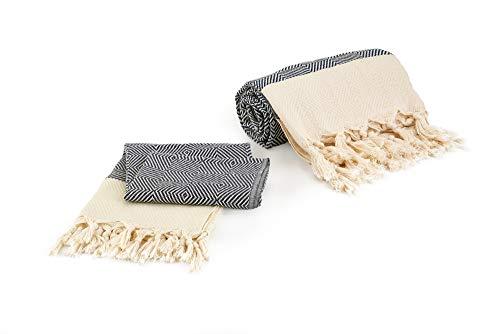 Goldfaden Strandhanddoek, grote hamamdoek, XL, 100% katoen, extra handdoek, pestemal-set, groot (95 x 180 cm) en klein (50 x 100 cm) praktische badhanddoek, reishanddoek, saunahanddoek