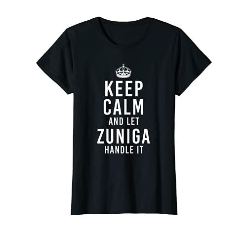 Keep Calm and Let Zuniga Handle It Funny Nombre Personalizado Camiseta