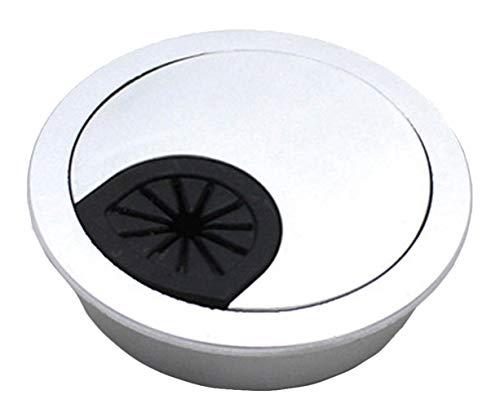 Insun 10 Unids Tapa Pasacables para Mesas de Computadora Escritorios, Tapa Organizador de Cable, Cable Pasacables Redondos de Plástico Plata brillante Ø 50mm