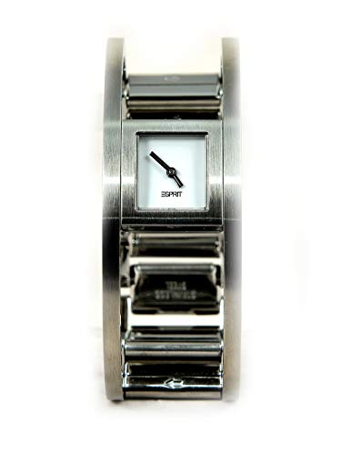 Esprit horloge van staal en witte wijzerplaat.