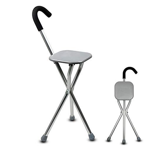 rietje Aluminium kruk + kruk dual-purpose, geschikt voor ouderen met een handicap lopen, driehoek krukwandelaar, anti-slip kruk met zitting