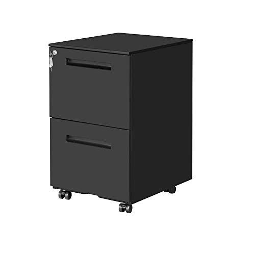 OFITURIA ® Archivador Metálico Negro con Cerradura para Oficina, Cajonera con Ruedas, 2 Cajones, Viene Montado 52x39x60 cm