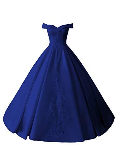 Brautkleider Lang A-Linie Hochzeitskleider Schlichte Satin Quinceanera Kleider Vintage Ballkleid Prinzessin Abendkleider Königsblau 50
