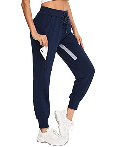 Sykooria Pantaloni Donna Pantaloni Sportivi Donna Estivi in Cotone con Tasche Pantaloni da Jogging Fitness per Corsa Sport Pantaloni Lunghi Pantaloni Donne Piede del Fascio Casual(Blu,M)