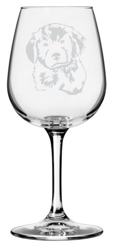 Golden Retriever Puppy Dog Themed Etched All Purpose 12.75oz Libbey Wine Glass