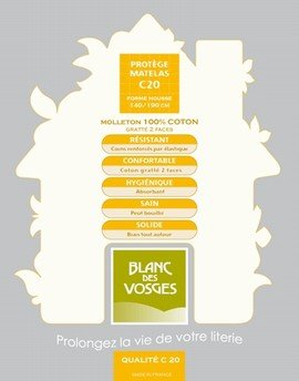 Blanc des Vosges Molleton 220gr/m² Alèze Housse avec 2 Têtes, Coton, Blanc, 160x200 cm