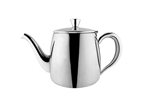 Café Olé PT-035 Premium Tea Pot, 18/10 Stainless Steel, Mirror Polished, 35oz, Stay Cool Hollow Handles, Perfect Pour Spout, Silver