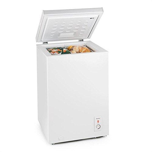 Klarstein Iceblokk - Congelador, Temperatura entre -26° y -15° C, Cesta extraíble para alimentos pequeños, Válvula de purgado, Ruedas, ECC A+, Capacidad de 100 litros, Blanco
