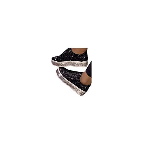 Espadrilles Damen Slip On Sneaker Strass Slipper mit Glitzer-Optik, Frauen Bequeme Leichte Atmungsaktive Freizeitschuhe Low Top Flache Schuhe Schöner Damenschuhe Celucke (Schwarz, 37EU)