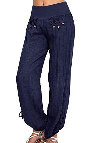 Vertvie Damen Hosen Lang Einfarbig Harem-Stil Pumphose Haremshose Sommerhose Yogahose Aladinhose Pluderhose mit Elastischen Bund(Marineblau, EU S/Etikettengröße M)