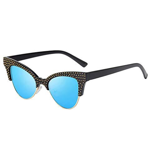 Qmber Unisex Retro Vintage Sonnenbrille im angesagte 60er Browline Style mit markantem Halbrahmen Sonnenbrille/Blue