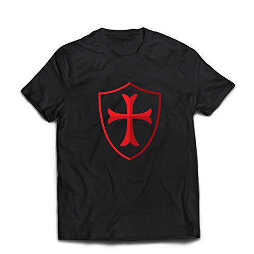 lepni.me Camisetas Hombre Escudo de los Caballeros Templarios, Cruz Roja, Orden de Caballeros Cristianos