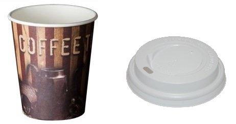 MSU Vasos de Carton Cafe, te, infusiones + Tapa Vaso cúpula -...