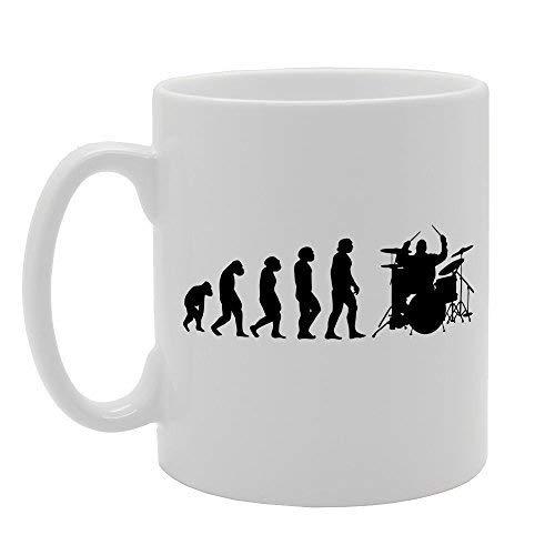 N\A Evolution Ape Man to Drummer Neuheit Kaffeebecher Tasse Geschenk Tee Kaffee Keramikbecher Lustige Tasse Kaffeebecher 11oz