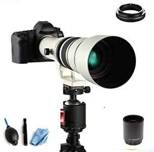 JINTU Teleobjetivo manual de 500 mm/1000 mm f/8 para Canon EOS 1000D 1200D 4000D 650D 550D 450D 750D 80D 90D 60D 70D 50D 5D 5D IV 6D II 7D II T5 T5i T6i T6s T7 T7I T8I SL33. Cámaras SLR