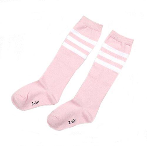 Flyusa 1 Pair Toddlers Children Kids Girls Boys Cotton Bootie Knee High Long Soccer Socks Team Socks for Kids 2-3 Years Old(Pink)