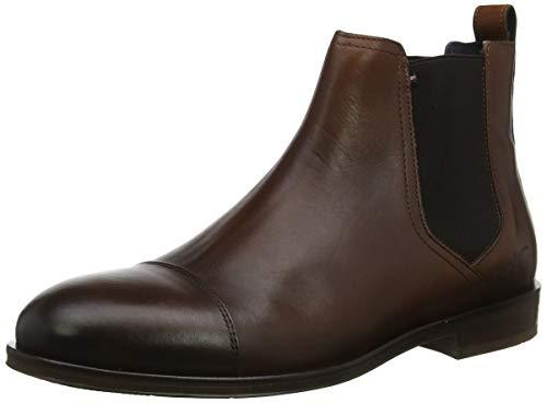 Tommy Hilfiger Herren Dress Casual Toecap Chelsea Klassische Stiefel, Braun (Cognac 606), 45 EU