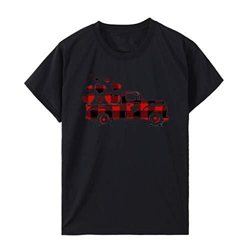 Whyeasy Verano Cuello Redondo Suelta T-Shirt Camiseta de Manga Corta para Mujer, Tops con Estampado de Camión Dibujos Animados, Regalos de San Valentín