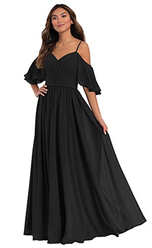 Ufashion Off The Shoulder A Line Evening Dresses Plus Size Lace Up Back Ruffles Prom Formal Gown Size 18W Black
