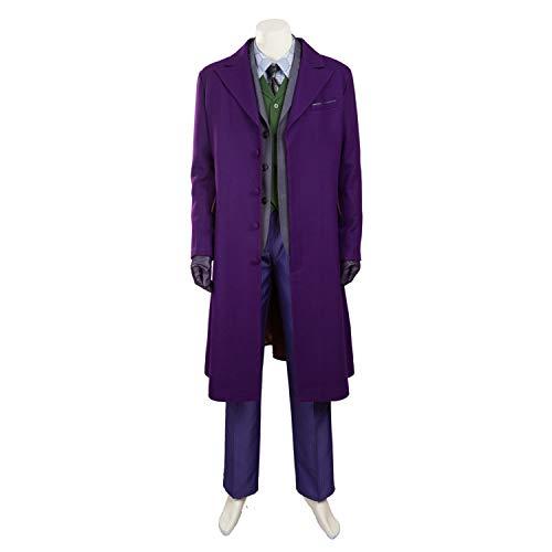 QWEASZER Batman Dark Knight Joker Cosplay Kostüm Herren Kostüm Lila Wolle Windbreaker, Westen, Anzüge, Hemden, Hosen Halloween Kostüm Requisiten Deluxe Edition,Clown-M