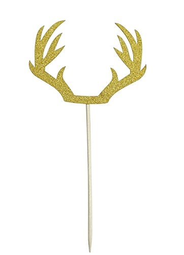 Shxstore DIY Gold Deer Antler Cake Cupcake Toppers Picks For Wedding Birthday Baby Shower Party Decorations Supplies, Pack of 12 by