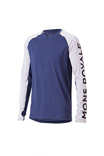 Mons Royale Mérinos T-Shirt à Manches Longues Supa Tech LS S Gris - Grey Marl/Navy