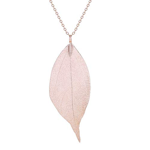 Women's Long Leaf Pendant Necklaces Real Filigree Autumn Leaf Fashion Jewellery Gifts (Rose Gold)