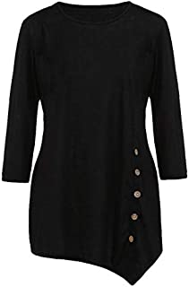 KTHGSBM shirt Summer Women's O-neck Shirts Casual Long Sleeve Button Ladies Tops Solid Tunic Chiffon Blouse Female Tops 6XL Black