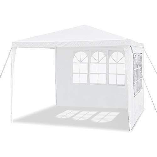 Aufun Pavillon Wasserdicht 3x3 m Weiß Gartenpavillon mit 4 Seitenwände Polyethylen Bierzelt Tür mit Reisverschluss für Garten Party Hochzeit Picknick Markt
