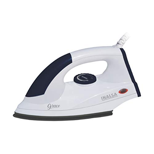 Inalsa Grace 1200-Watt Dry Iron with Non Stick Coated Sole Plate (White/Grey)
