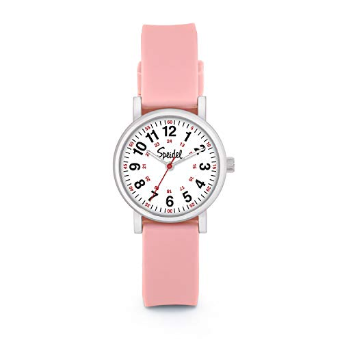 Speidel Women's Light Pink Scrub Petite Watch for Medical Professionals Easy to Read Small Face, Luminous Hands, Silicone Band, Second Hand, Military Time for Nurses, Students in Scrub Matching Colors