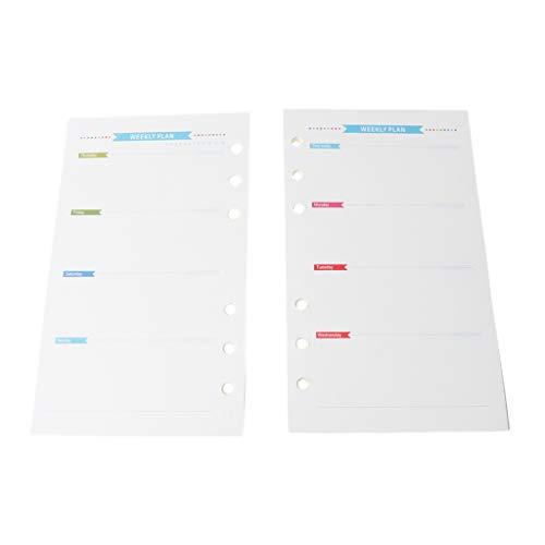 Boji Libreta de 6 agujeros para la semana de papel mensual para el cuaderno A6 de 17 x 9,7 cm