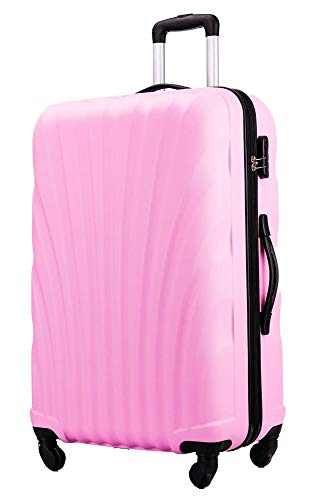 Flymax 29' Large Suitcases on 4 Wheels Lightweight Hard Shell Luggage Durable Check in Hold Luggage Built-in 3 Digit Combination Pink