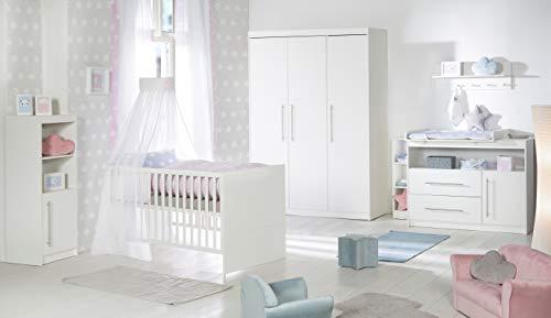 roba Komplett-Kinderzimmer 'Maren', Babyzimmer Set, inklusive Kombi Kinderbett 70 x 140 cm, breiter Wickelkommode & 3-türigem Kleiderschrank, weiß
