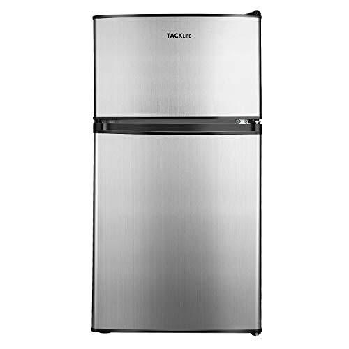 TACKLIFE Compact Refrigerator 3.2 Cu.Ft, 2 Door Mini Fridge with Freezer, Stainless Steel Silver Door, Energy Saving for Bedroom, Dorm, Apartment, Office, Garage, MVSFD321