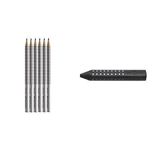 Faber-Castell 2001 - Set de 6 lápices (dureza HB, con agarre ergonómico) (117697) + 287199–Triángulo goma de borrar GRIP 2001, negro
