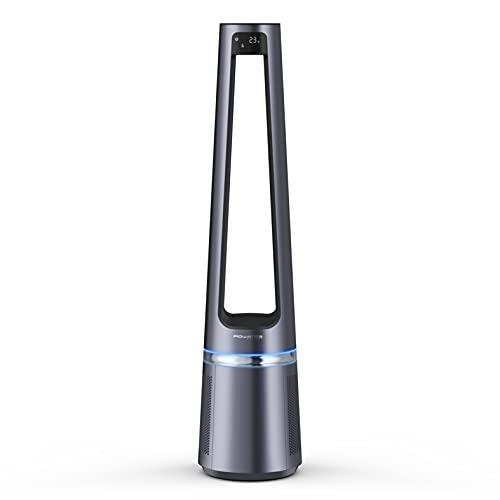 Rowenta Eclipse 2 en 1 QU5030 ventilador purificador sin aspas de 12 velocidades, purificador, ventilador, filtra partículas finas, silencioso, oscilación y luz decorativa, encendido programable
