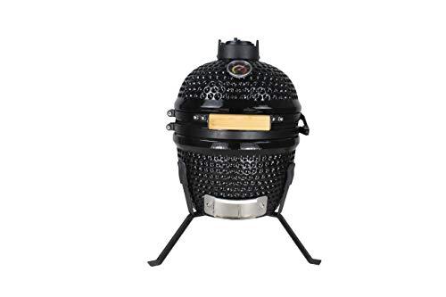 BluMill Barbacoa de cerámica Kamado, parrilla de carbón vegetal con tapa y ventilador, para cocer, ahumar y mucho más.