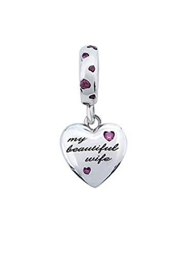 FeatherWish My Beautiful Wife - Colgante de plata de ley 925 con circonita cúbica rosa, compatible con pulseras Pandora, pulseras o collares europeos de 3 mm