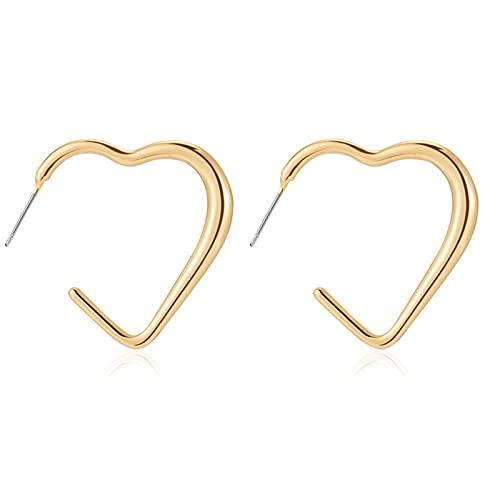 Pendientes para mujeres Golden Big Hoop Pendientes Geometría Metal Femenino Hembra Pendientes de gota (Metal Color : Golden 15)