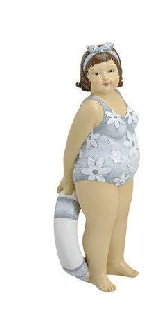 Figur Dame mit Stirnband und Schwimmring mollige Frau im Blumenbadeanzug Dicke Badenixe Sommerdekofigur Lady Rubens Maritimdekofigur Schwimmerinfigur