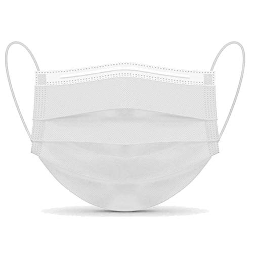 Disposable Face Masks, Finestic 3-Ply Breathable Non-Woven Premium Quality Safety Mask with Elastic Ear Loop, Adjustable Nose Wire and Three Layer Protection (50 Pieces, White)