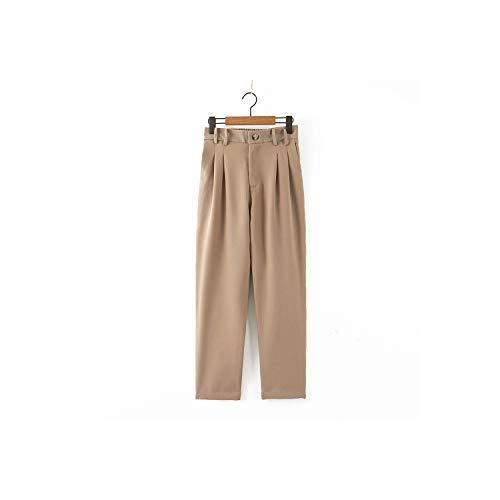QIAOQIAO Vrouwen Khaki Pak Broek Zakken Plissé Taille Pocket Office Lady Lange Broek Pantalon