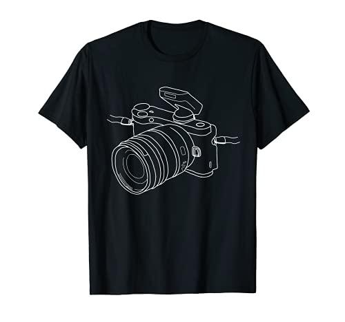 Cámara One Line Art Fotógrafo Minimalista Dibujo Regalo Camiseta